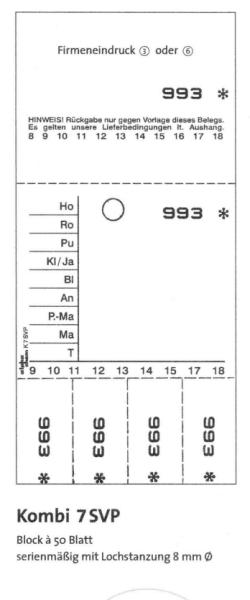 "Kombikarten-Blocks ""Kombi 7SVP"" - 50 Blatt je Block"