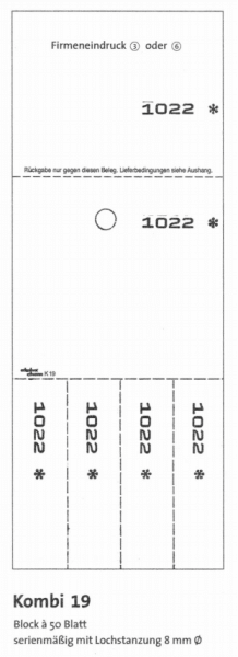 "Kombikarten-Blocks ""Kombi 19"" - 50 Blatt je Block"