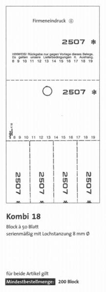 "Kombikarten-Blocks ""Kombi 18"" - 50 Blatt je Block"